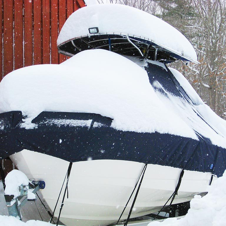 Snow Covered Boat Cover